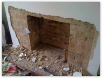 Fireplace removeal ready for heat resistant render